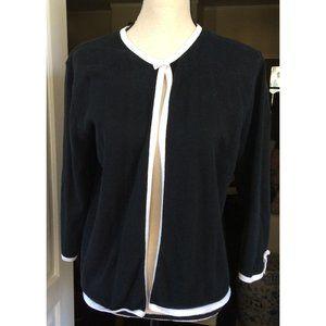 Talbots Cardigan M Black White Rayon Cotton